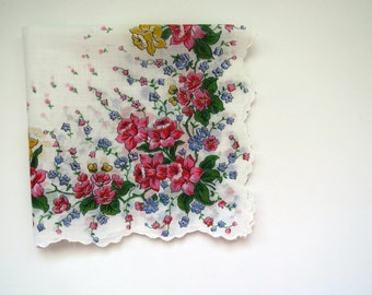 Vintage Floral Handkerchief Hankie - Pink Yellow Daffodils Blue Bells Spring Flowers Hanky - Womens Accessories - Collectible - Gift