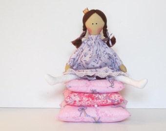 Fabric doll The Princess and the Pea cloth doll fairy tale princess doll purple lilac brunette handmade stuffed doll play set nursery decor