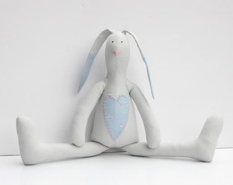 Stuffed bunny gray blue pink bunny rabbit hare softie plush rabbit bunny doll cute stuffed toy baby shower and birthday gift boy and girl