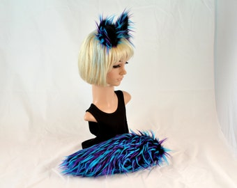 Ear Tail Clip On Set in 3 toned Faux Fur Blue and Purple Spikes