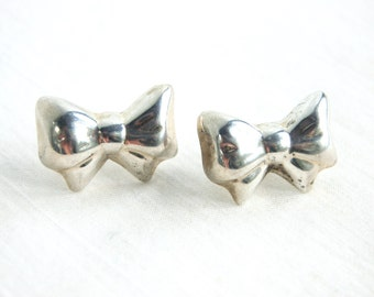 Silver Bow Earrings Vintage Mexican Sterling Silver Ribbons Pierced Posts Rockabilly Taxco Mexico
