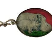 Hippo Purse Charm, Hippo Handbag Charm, Zipper Charm From My Painting  - Salvador Kitti