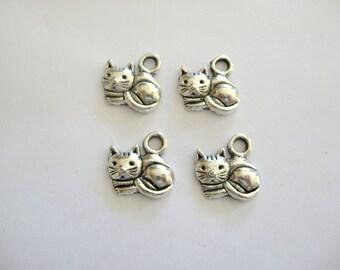 Cat Charms~Pewter Cat Charms~Pewter Charms~Cat Charms Pewter~Four Cat Charms~