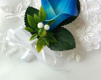 Wedding Natural Touch Royal Blue Calla Lily Corsage - Silk wedding Corsage