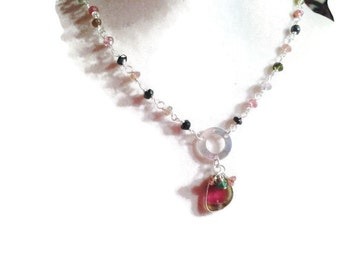 Watermelon Tourmaline Necklace - Pink Green Sterling Silver Jewelry - Gemstone Jewellery - Pendant - Watermelon Tourmaline Jewelry -