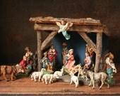 Nativity set, vintage creche, wooden manger, Vintage nativity