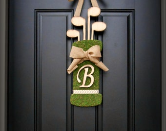 Fall Wreath.  Christmas Wreath.  Christmas Gift Wreath.  Moss Golf Bag Wreath with Woodfired Clubs.