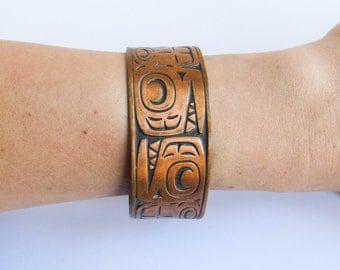 Vintage Native, Tribal Wide Copper Cuff Bracelet with Totem Animals