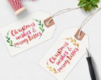 Christmas Printable, Christmas gift tags Printable, Christmas tags, handwritten gift tag, printable gift tags, digital download, wine tags