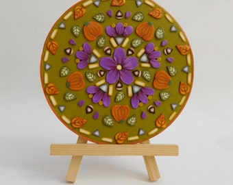 Autumn Flower Mandala, upcycled CD polymer clay art, Thanksgiving decor