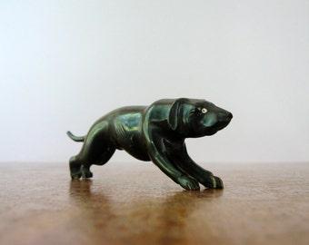 Vintage Carved Black Bone / Horn / Antler Dog Figurine