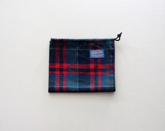 Vintage Pendleton Drawstring Bag / Sack / Pouch / Satchel - Teal / Red
