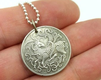 Ram necklace - Manx Loaghtan sheep coin pendant - Celtic necklace - Isle of Man - Aries necklace - year of the sheep - coin jewelry