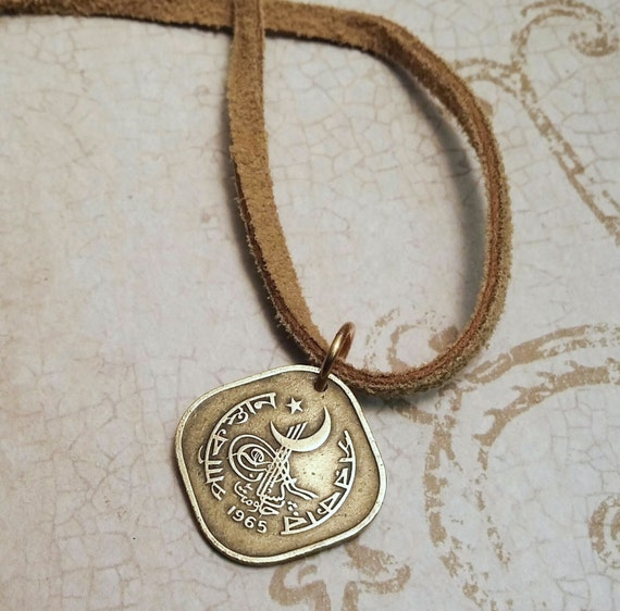 Crescent Moon and Star necklace - 1973 Pakistan COIN NECKLACE - star - crescent moon - sailboat - moon star pendant - sailboat necklace