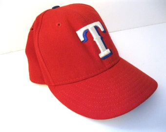 Vintage Letter T Ball Cap  Red Hat Texas Rangers Mens Accessory Sports Fan