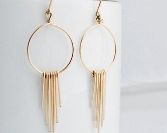 Gold Chandelier Earrings, Simple Gold Earrings, Gold Hoop Earrings, Long Gold Earrings