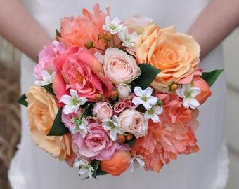 coral bouquet etsy