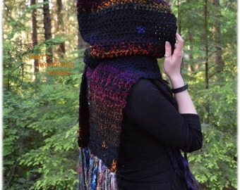 Hooded Scarf - Magical Embers - Crocheted Woodland Pixie Scarf