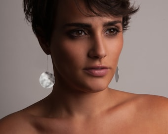 Silver or Gold-Fill Pendulum Disc Earrings   Sequence Collection