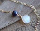 Rainbow Moonstone Necklace, Birthstone Necklace, Sapphire Gold Moonstone Necklace, Sapphire Necklace Birthstone Gold Necklace, AAA Moonstone