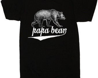 SALE - Papa Bear T-shirt Tees Fathers Day Gift Idea Mens Father's Shirt New Dad Announcement Present Daddy to be Reveal Pregnancy # 1 Dad