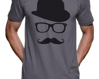 Mustache Hat Wayfarer T Shirt - Funny Novelty Gift Tees Funny T Shirt - Gifts For Him Her Mens T Shirt Mens Gifts Group Womens Graphic Tee