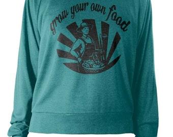 Womens Longsleeve Lightweight Pullover - Grow Your Own Food Sweatshirt - Farm Sweater - American Apparel Raglan