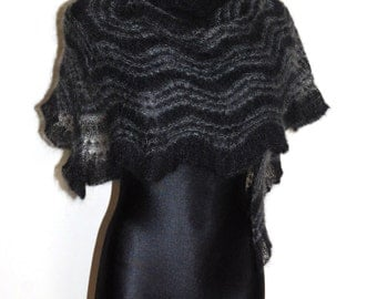 Goth Hand Knit Lace Shawl, Black and Grey Hand Knit Lace Shawl, Black Luxurious Evening Stole, Triangular Hand Knitted Lace Shawl