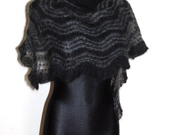 Black and grey hand knit lace shawl, Black luxury evening stole, Triangular hand knitted lace shawl