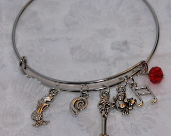 The Little Mermaid Ariel Inspired Expandable Wired Bracelet Mermaid Shell Fork Dinglehopper Crab Music Note