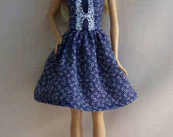 Handmade Barbie Clothes-Navy and White Print Barbie Dress, Barbie Clothes, Doll Clothes,