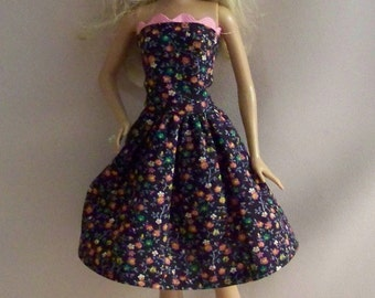 Handmade Barbie Doll Clothes-Brown Floral Cotton Print Barbie Dress