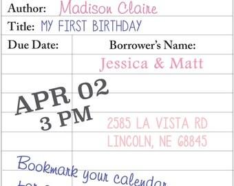 Book Shower Invite Digital File