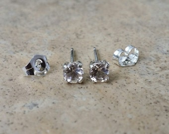 Morganite Earrings - 4mm genuine Morganite stud earrings in Sterling Silver or Gold