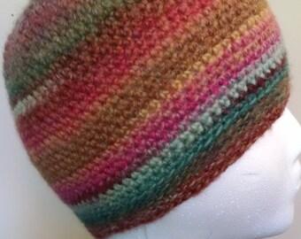 Crocheted Random Stripes Beanie in Amazing Yarn- Youth/Teen