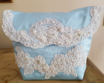 Wedding Handbag / Blue Satin & French Lace Bridal Purse /  Handmade OOAK Wedding Handbag/  Something Blue