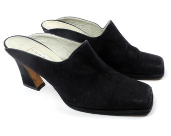 Pura Lopez victorian heel mules / vintage 1990's open back heels / black suede leather mules / made in Spain size 8.5 B