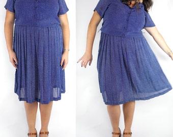 HOLIDAY SALE1980s polka dot blouson dress / blue and white sundress / 80s pleated dress size 12 / plus size vintage dress
