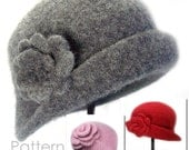 Felted Cloche & Brooch (infant to adult) - Easy Crochet PATTERN - Download PDF 1423