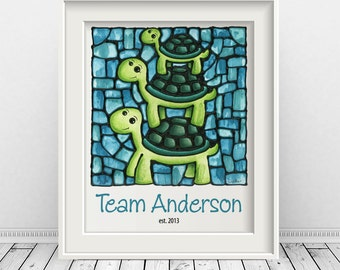 Turtle Family Art - Custom Print - Turtle Family Poster - New Home Gift - 8 x 10 inch - Personalized - FREE SHIPPING in Canada