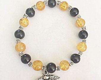 Bumble Bee Bracelet - Honey Bee Bracelet - Stretch Bracelet - Elasticated Bracelet - Bee Charm - Insect Bracelet - Insect Jewelry