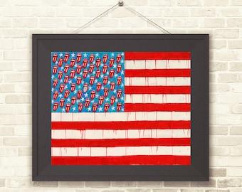 rolling stones flag art-american flag-stones -rock flag-american flag-flag art-flag art print- rolling stones lover-rolling stones gift