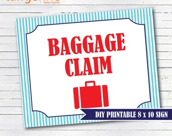 Train Birthday - Baggage Claim Sign - PDF Printable - INSTANT DOWNLOAD