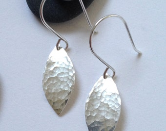 Small hammered silver leaf dangle earrings - leaf shaped silver earrings