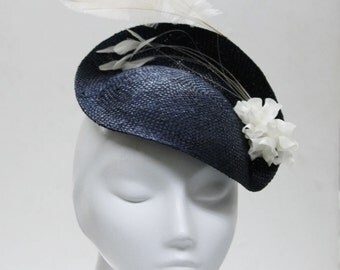 The Panthia Fascinator - Navy Fascinator Hat w/ Feathers & Sweet Flower Spray - Wedding Fascinator - Derby Hat