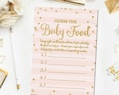 Pink and Gold Baby Shower Guess The Baby Food Game, Printable Baby Shower Games, Guess the Baby Food Game, Girl Shower, Instant Download BB7