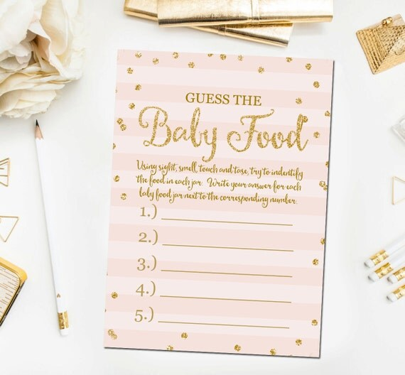 Gold Baby Shower Guess The Baby Food Game, Printable Baby Shower Games ...