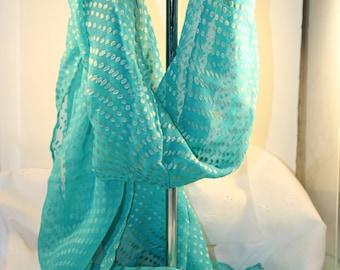Lovely Hand dyed Silk Scarf 14x60 Aqua