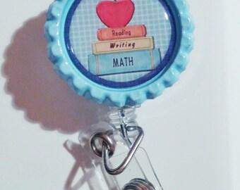Teacher ID badge bottle cap lanyard retractable