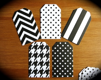 Chic Black & White Gift Tags-Lot of 25 Blank Labels-Polka Dots, Chevrons, Houndstooth, Stripes-Baby Shower Tags-Mom-Grads-Summer Gift Wrap